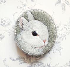 Little bunny . brooch . handmade . felt . needle felted . hand embroidered . animal
