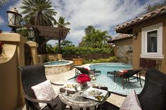Dining at your private pool
