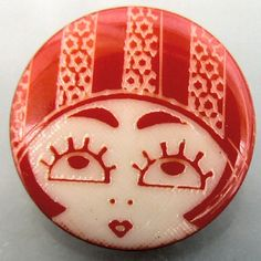 1920s-look Flapper face, red and white laser etched plastic clothing button. Modern. Medium, little over 3/4 (20mm). If you need more than Ive
