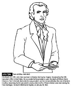 U.S. President John Tyler coloring page