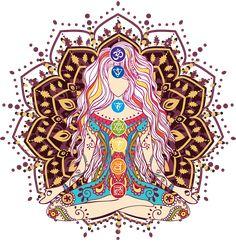 women girl goddess swag clothing clothes chakras mandala meditation yoga lotus position heart chakra third eye by Read Mandala Meditation, Chakra Meditation, Mindfulness Meditation, Arte Chakra, Chakra Art, Chakra Mantra, Sacral Chakra, Chakra Healing, Goddess Tattoo