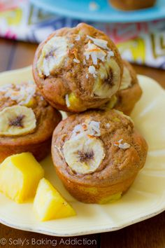 Skinny, Bikini-Friendly Tropical Muffins. Made with bananas, pineapple, orange zest, yogurt, whole wheat flour, and coconut. Easy, moist, low-fat, healthy muffins | sallysbakingaddiction.com