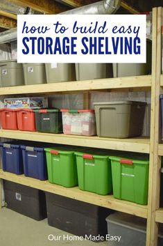 Organize your totes with this DIY storage shelving! And make them for a budget p.