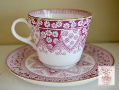 Spode Primrose Red Transferware Tea Cup & Saucer English China