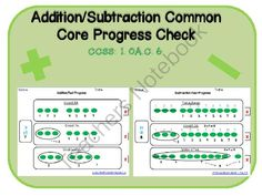 Common Core Addition Subtraction Progress Check from LearningandGrowing on TeachersNotebook.com -  (9 pages)  - Common Core Addition Subtraction Progress Check