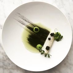 Poached King George Whiting, Smoked Herring, Wasabi Pea and Cucumber Dashi…""