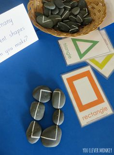 DIY Line Rocks - use loose parts and some creativity to create this amazing resource! Cheap and easy to make - perfect for teaching pre-readers and pre-writers about 2D shapes, letter and number formation | you clever monkey