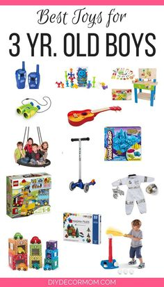The ultimate list of the best toys for 3 year old boys including fun presents for toddlers, sons, children and great christmas gift guide ideas including board games, bikes, and trains! gift for boys Christmas Presents For 3 Year Olds, Toddler Christmas Gifts, Christmas Gift 3 Year Old Boy, Christmas Ideas, Winter Christmas, Christmas Decorations, Kids Toys For Boys, Best Kids Toys, Gifts For Kids