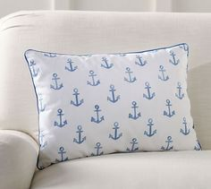 All-Over Anchor  Pillow - Nautical theme nursery - beach theme