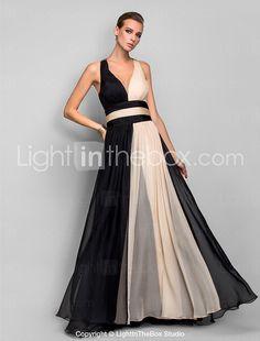 Formeller Abend / Militär Ball Kleid - Muster / Vintage inspiriert / Schöner Rücken A-Linie / Prinzessin V-Ausschnitt Boden-Länge Chiffon 2016 - €127.39