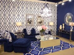 Envision Showroom featuring Hourglass Trellis wallpaper from the Ashford Geometrics collection. This Wallpaper can be purchased at York Wallcoverings. Snorkel Blue, Trellis Wallpaper, Asian Paints, Wallpaper Ideas, Hourglass, Powder Room, Showroom, New Homes, Blue And White