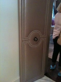 These upholstered doors going from a Master bedroom to a master bathroom were at a showcase home I went to in Houston. Master Bedroom Design, Master Bathroom, Door Paint Colors, Leather Wall, Cupboard Doors, Curtain Designs, Door Wall, Closet Doors, Panel Doors
