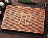 Pi Cutting Board, Geeky Graduation Gift, Science Art, Math Art, Engraved Wood Kitchen Decor, Pi Art, Science Gift, Geekery