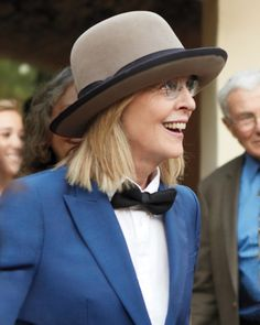 Family friend Diane Keaton was all smiles in something blue.