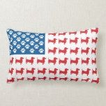 Shop Doxie - Dachshund Patriotic American Flag Lumbar Pillow created by knudsonstudios.