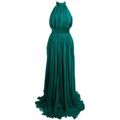 Pre-owned Alexander McQueen 2010 Flowing Emerald Green Chiffon Halter... ($3,500) ❤ liked on Polyvore