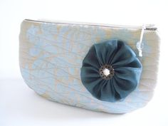 Blue Wedding Clutch Flower Brooch Bag Prom Clutch Bag by PersaBags