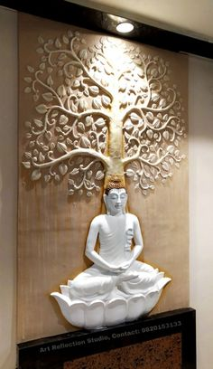 Living Room Wall Designs, Living Room Partition Design, Pooja Room Door Design, Room Partition Designs, Home Room Design, Buddha Statue Home, Buddha Home Decor, Buddha Wall Art, Clay Wall Art