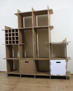 Modulaire kast van 100% #Karton. Bouw je eigen kast naar wens op met de losse onderdelen. Eventueel aan te vullen door kisten van #Karton of een vakwerk. Alles kan van #Karton!