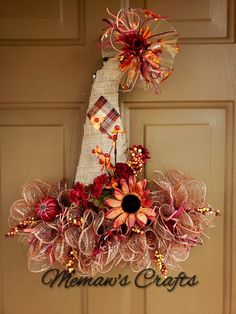 Fall Mesh Wreaths, Fall Deco Mesh, Diy Fall Wreath, Wreath Crafts, Fall Diy, Deco Mesh Wreaths, Holiday Wreaths, Burlap Wreaths, Wreath Ideas