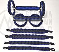 Paracord Grab Handles Roll-Bar Mount Full Set Jeep JK/JKU in Thin Blue Line/Electric Blue READY TO SHIP!!!