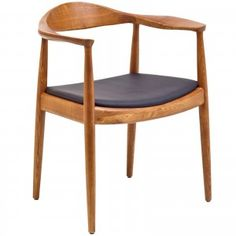 Tracy Wood Dining Arm Chair with Faux Leather Seat | East End Imports $260