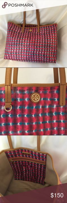 "Tory Burch Kerrington Square Tote Authentic Tory Burch Kerrington Square Tote features a colourful plaid print. Durable and water resistant, the design is detailed with gold hardware, leather handles and trim. The interior features a cell phone pocket and zipper pocket. Thin shoulder straps with a 9"" drop. Gently used, no dust bag included. Tory Burch Bags Totes"