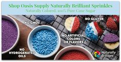 Our Natural Colored Sprinkles contain 100% pure cane sugar, colored with nature's resources derived only from edible plants to produce a variety of colors to meet today's clean-label ingredient trend. These sprinkles can be used as a decorative topping to add sparkle to baked goods, ice cream and confectionery products.