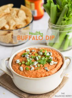 Healthy Buffalo Dip - A creamy, delicious dairy-free meat-free alternative to traditional buffalo dip. | thebalancedberry.com