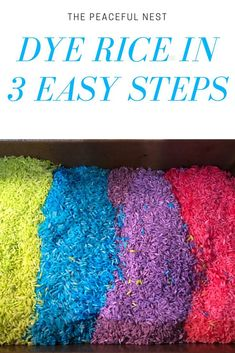Playing with colorful rice can be a fun and easy activity for your kiddo! Learn how to dye rice with these 3 easy steps. A kid activity perfect for homeschool, family fun or to implement learning! Sensory Activities, Hands On Activities, Family Activities, Time Activities, Learning Activities, Peaceful Parenting, Gentle Parenting, Parenting Hacks, Parenting Toddlers