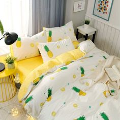 Funky Green White and Yellow Pineapple Print Tropical Country Chic Vogue Style Twin, Full, Queen Size Sets - Girls Bedroom Sets, Bedroom Themes, Kids Bedroom, Bedroom Ideas For Tweens, Bedroom Wall, Tropical Bedrooms, Tropical Home Decor, Yellow Bedrooms, Tropical Interior
