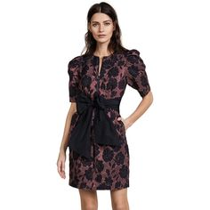Rebecca Taylor Short Sleeve Brocade Dress (€585) ❤ liked on Polyvore featuring dresses, raspberry combo, fancy dresses, metallic dress, rebecca taylor dresses, metallic party dress and floral party dress