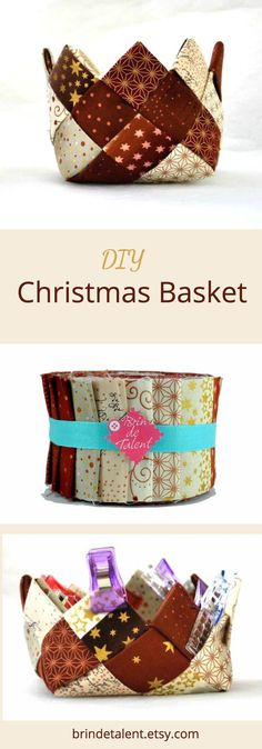 Christmas basket tutorial in English. PDF Instant Download. #diychristmas #diychristmasornaments #diychristmasdecorations #christmas #pattern #quilting #patchwork