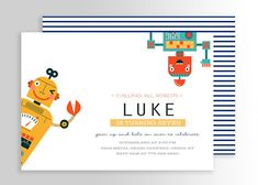 Modern Robot Party Invitation Personalized Invitations, Party Invitations, Robot Clipart, Kids Events, Favor Tags, Thank You Cards, Your Child, Rsvp, Party Themes