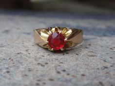 Victorian Belcher Ring 10k ruby red stone by LuceesTreasureChest