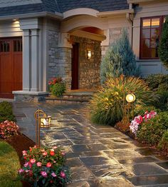 Backyard Landscaping Ideas - Add soome entry path lights for great curb appeal for your home. Garden Path Lighting, Landscape Lighting, Outdoor Lighting, Outdoor Decor, Lighting Ideas, Lighting Design, Backyard Lighting, Outdoor Walkway, Paver Walkway