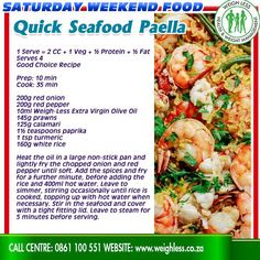 Weigh-Less Good Choice Recipe Yummy Recipes, Recipies, Cooking Recipes, Healthy Recipes, Healthy Meal Prep, Healthy Life, Lean Protein Meals, Seafood Paella, Good Food