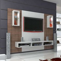 50 Images Of Modern Floating Wall Theater Entertainment Design Ideas With Shelves - Bahay OFW unit Design Tv Wall Design, Ceiling Design, House Design, Tv Unit Decor, Tv Wall Decor, Wall Decorations, Tv Unit Furniture Design, Home Decor Furniture, Furniture Plans