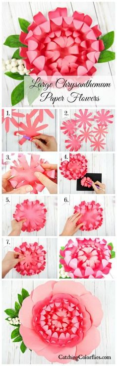 Easy paper flower tutorials. How to make paper chrysanthemums.