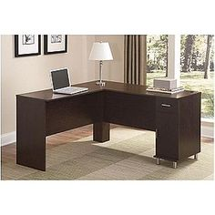 Black Castle L Shape Desk- Ameriwood