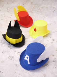 Super Hero Top Hats  by ~smallrinilady    Mix of DC and Marvel  Wonder Women, Captain America, Batman, and Flash