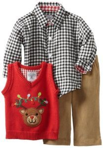 mud pie boys three piece set shirt pants and reindeer vest christmas outfits