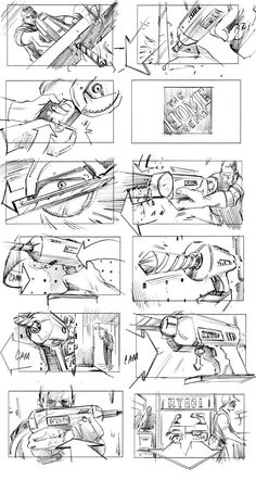 This storyboard has a nice sense of perspective and detail. The directional arrows aid in that. It also has a nice variety of shot types.