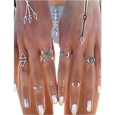 6 Pcs Silver Arrow Joint Knuckle Midi Ring Set