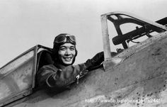 Ace pilot Nagao Shirai in the cockpit of a Nakajima Ki-27 used by the Imperial Japanese Army Air Force