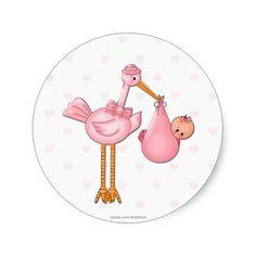 Girl Stork Sticker