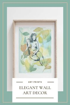 Elevate your home decor with these high quality fine art prints. Nude art and watercolor painting that will add a touch of personality to your wall decor, perfect for a wall art gallery or as a statement piece, its artistic line drawing and abstract floral background will catch the attention of anybody in the room.#fineartprints #gicleeprints #artprints #watercolorart #nudeart #walldecor Watercolor Horse, Watercolor And Ink, Watercolor Illustration, Watercolor Paintings, Painting Prints, Wall Art Prints, Fine Art Prints, Sunflower Art, Gesture Drawing