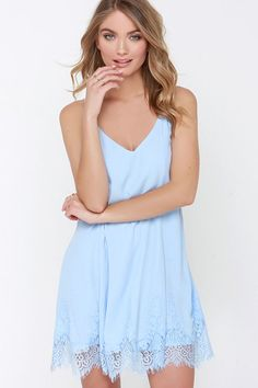 Highly Refined Light Blue Lace Shift Dress at Lulus.com!