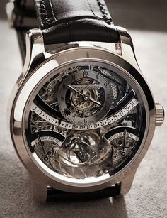 Jaeger LeCoultre Gyro Tourbillon in Platinum || Oh, and they have it in Platinum and black leather for Ryan. If only a pair of these wouldn't be nearly a million dollars...sigh.