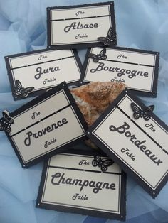 Wine regions Themed Wedding Table Names instead of Table Numbers